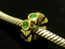 Bd027- GENUINE 9ct Gold NATURAL Green Emerald Rondelle Bead Charm