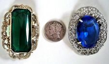 Antique Set Early & Late Victorian, Emerald & Lilac Cut Glass Solitaire Brooches