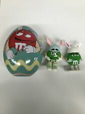 -115- M&M's Red Character Collectible Egg Shaped Easter Tin with Two Green East