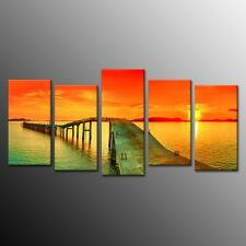 Canvas Print Painting Poster Bridge Red Cloud Ocean Wall Art Decor 5pcs No Frame