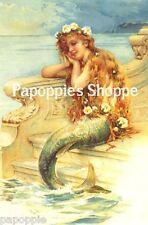 Mermaid Fabric Block Colorful Adorable Beautiful Girl Sea Flowers