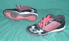Under Armour Yard RM Low Youth Boys Size 4 Black Red Baseball Cleats Used Shoes