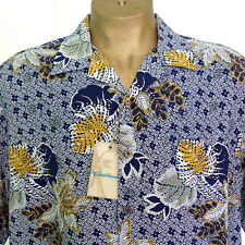 NWT Caribbean Pure Silk MSRP $79.50 Mens XL Twilight Blue Camp Shirt