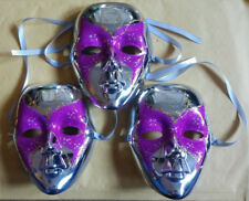Lot of 3 - Mardi Gras Silver Face Mask - Decoration Attire - FREE SHIPPING