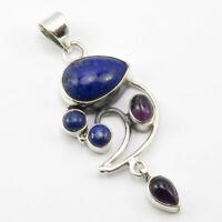 "Solid Sterling Silver Lapis Lazuli, Multistone Pendant 1.9"" 4.4 Grams Art Gift"