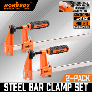 2Pc F-Clamps 60x300mm Heavy Duty Steel Bar Quick Release Grip Handle Woodworking