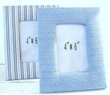 Bilderrahmen Vichy blau kariert oder gestreift m. Stoff bezogen 19 x 24 cm