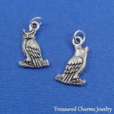 Silver OWL Bird HOOTER Halloween CHARM PENDANT
