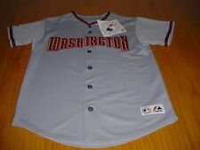 NEW WT MLB WASHINGTON NATIONALS GRAY STITCHED JERSEY  BOYS L MAJESTIC POLYESTER