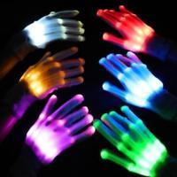 Lot LED Light Gloves Finger Lighting Electro Rave Party Dance Skeleton Halloween