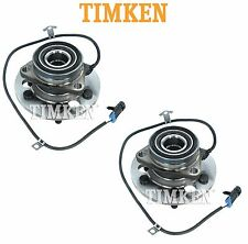 Pair Set of Front Wheel Bearings & Hubs Timken For Cadillac Chevy GMC 4WD