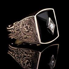 Vintage Wedding Jewelry 925 Silver White Sapphire Men Birthstone Ring Size 11