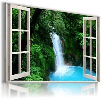 CASCADE WATERFALL 3D Window View Canvas Wall Art Picture Large SIZES W59 MATAGA