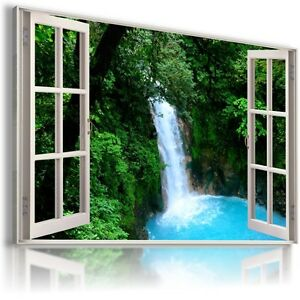 CASCADE WATERFALL TREES  3D Window View Canvas Wall Art Picture   W59 MATAGA