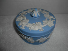 Wedgwood Embossed Queens Ware Covered Trinket Candy Powder Blue White Dish