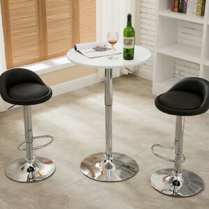 2* Bar Stool Faux Leather 360 Swivel Metal Lift Foot Kitchen Breakfast Chair New