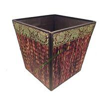 Thai Wicker Reed Waste Paper Bin Traditional Oriental Elephant Pattern Thailand