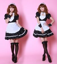 High Quality Black 6 Pieces Maid Cosplay Fancy Dress, Uniform Outfits, Size XS-S