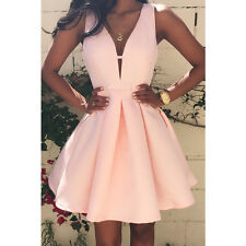 AU Women Summer Casual Sleeveless Evening Party Cocktail Dress Short Mini Dress