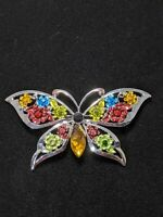 Silver Tone Red Green Yellow Blue Rose Rhinestone Butterfly Pin Brooch