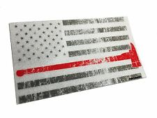 """The White Tattered and Burned Reflective Thin Red Line Axe 3.75x2.6"""" Sticker"""