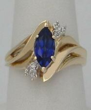 LADIES 10K YELLOW GOLD SOLITAIRE ACCENTS BLUE MARQUISE SAPPHIRE DIAMOND RING 15m