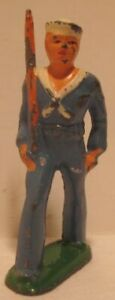 Old Barclay Lead Military Navy Sailor in Blue Marching w/ Gun - Toy Soldier