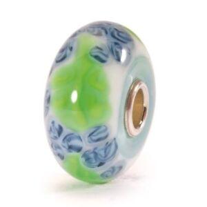Trollbeads Blauer Flachs TGLBE-10064 Blue Flax Bead Glass Blau Grün Weiß