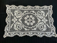 Vintage White Crocheted Open Style Lace Doily Dresser Scarf