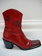 SARTORE dark red leather and lizard skin short cowboy style boots size 40