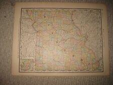 FINE ANTIQUE 1882 MISSOURI IOWA RAILROAD MAP ST LOUIS DAVENPORT DETAILED NR