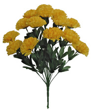 "14-3.5"" Yellow Carnation 20"" Tall Bush Silk Flower Home Wedding Office Decor"