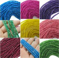 """2x4mm Natural Faceted Jade /Emerald /Ruby Rondelle Gemstone Loose Beads 15"""" AAA"""