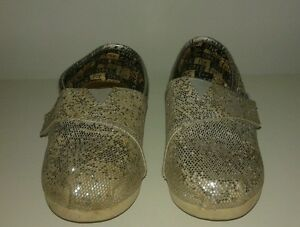Toms Baby Shoes Sz T 9 Silver Glitter