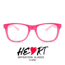 GloFX Heart Effect Diffraction Glasses - Pink - Light Show 3D Effects Opticals