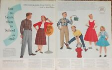 SEARS, Roebuck and Co. BACK TO SCHOOL Vintage 50's Print Ad Clothing Prices 2 P