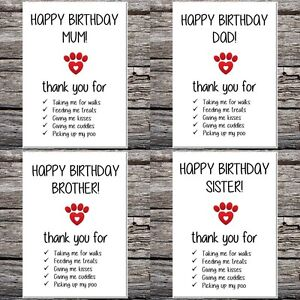 funny cute birthday card from the dog/cat mum dad brother sister nan choose name