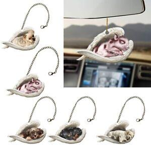 Creative Cute Cat Dog Acrylic Car Hanging Ornament Craft Figurines Angel DecFY