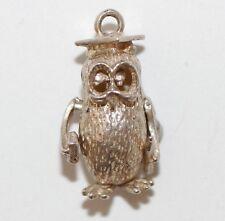 Vintage Wise Owl Sterling Silver Bracelet Charm  / Moving Eyes (2.2g)