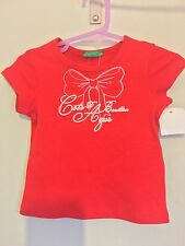 New With Tags Baby Girls United Colours Of Benetton Red Bow Print Top 12m🎀