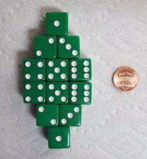 DICE 16mm KOPLOW OP. GREEN WITH WHITE PIPS! ONE DOZEN!