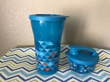 Tupperware Large Tumbler w/ Stack and Twist Small Container Set of 2 Aqua New
