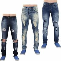 Mens Ripped Skinny Jeans Slim Fit Stretch Denim Cotton Trouser Pants Waist 28-40