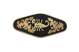 Men Black Metal Belt Buckle Heavy Strong Bold Gold Scorpion Motorcycle Western