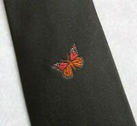 Vintage Tie MENS Necktie CRESTED Club Association Society Butterfly BROWN 1980s