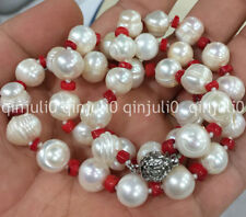 "Charming!10-11mm freshwater cultured Thread pearl & red coral necklace 20""  2267"