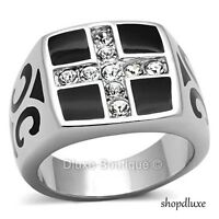 MEN'S ROUND CUT CZ SILVER & BLACK STAINLESS STEEL HOLY CROSS RING SIZE 8-13