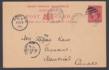 Gibraltar H&G 16 used 1889 10c Queen Victoria Postal Card to Montreal, Canada