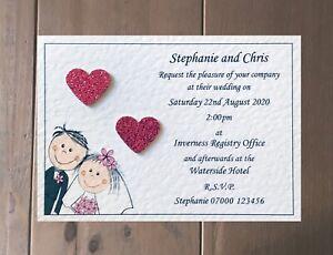Wedding Invitation Sample Raised Glitter Hearts - Many Heart Colours!