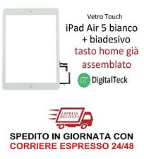 VETRO TOUCH SCREEN PER Apple iPad AIR 5 WiFi e 3G MOD A1474 A1475 A1476 BIANCO